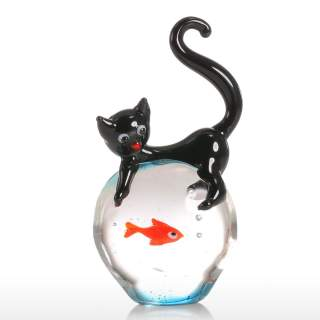 CHAT SUR BOCAL A POISSON ROUGE